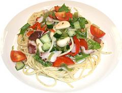 たことトマトのにんにくバジル風スパゲティー